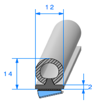 Semelle EPDM ADH + Bulbe EPDM   Ref 733   Vendu au Mètre