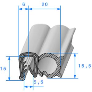 Pince EPDM Armé + Bulbe EPDM   [pour EP 4 à 5 mm]   Vendu au Mètre