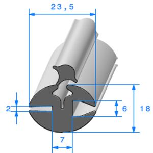 Joint de Fenêtre en H 18x23.5 mm   Vendu au Mètre