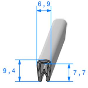 Pince PVC Gris Armé   [pour EP 0.8 à 2 mm]   Vendu au Mètre