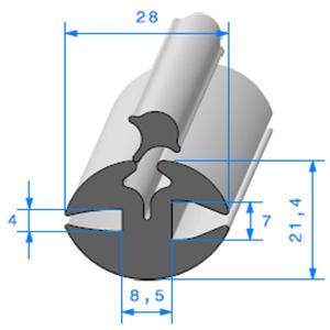 Joint de Fenêtre en H 21.4x28 mm   Vendu au Mètre