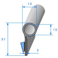 Semelle EPDM ADH + Bulbe EPDM   Ref 790   Vendu au Mètre