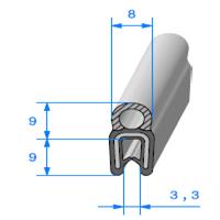 Pince EPDM Armé + Bulbe EPDM <br /> [pour EP 0.8 à 2.5 mm] <br /> Vendu au Mètre<br />