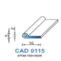 CAD0115N Profil EPDM <br /> 70 SH Noir<br />