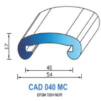 CAD040MC Profil EPDM <br /> 70 SH Noir <br /> Main Courante 40<br />