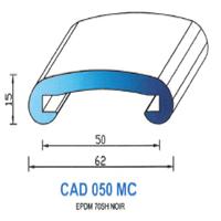 CAD050MC Profil EPDM <br /> 70 SH Noir <br /> Main Courante 50 <br /> Vendu au Mètre<br />