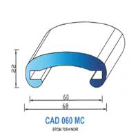 CAD060MC Profil EPDM <br /> 70 SH Noir <br /> Main Courante 60<br />