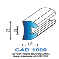 CAD1000N Profil EPDM <br /> 70 SH Noir <br /> Vendu au Mètre<br />