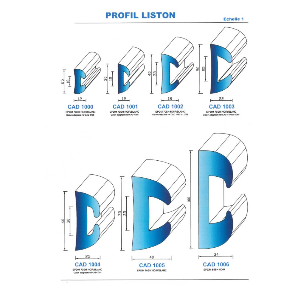 CAD1001B Profil EPDM   70 SH Blanc   Vendu au Mètre