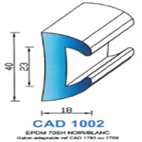 CAD1002B Profil EPDM <br /> 70 SH Blanc <br /> Vendu au Mètre<br />