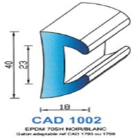 CAD1002N Profil EPDM <br /> 70 SH Noir <br /> Vendu au Mètre<br />