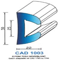 CAD1003B Profil EPDM <br /> 70 SH Blanc <br /> Vendu au Mètre<br />