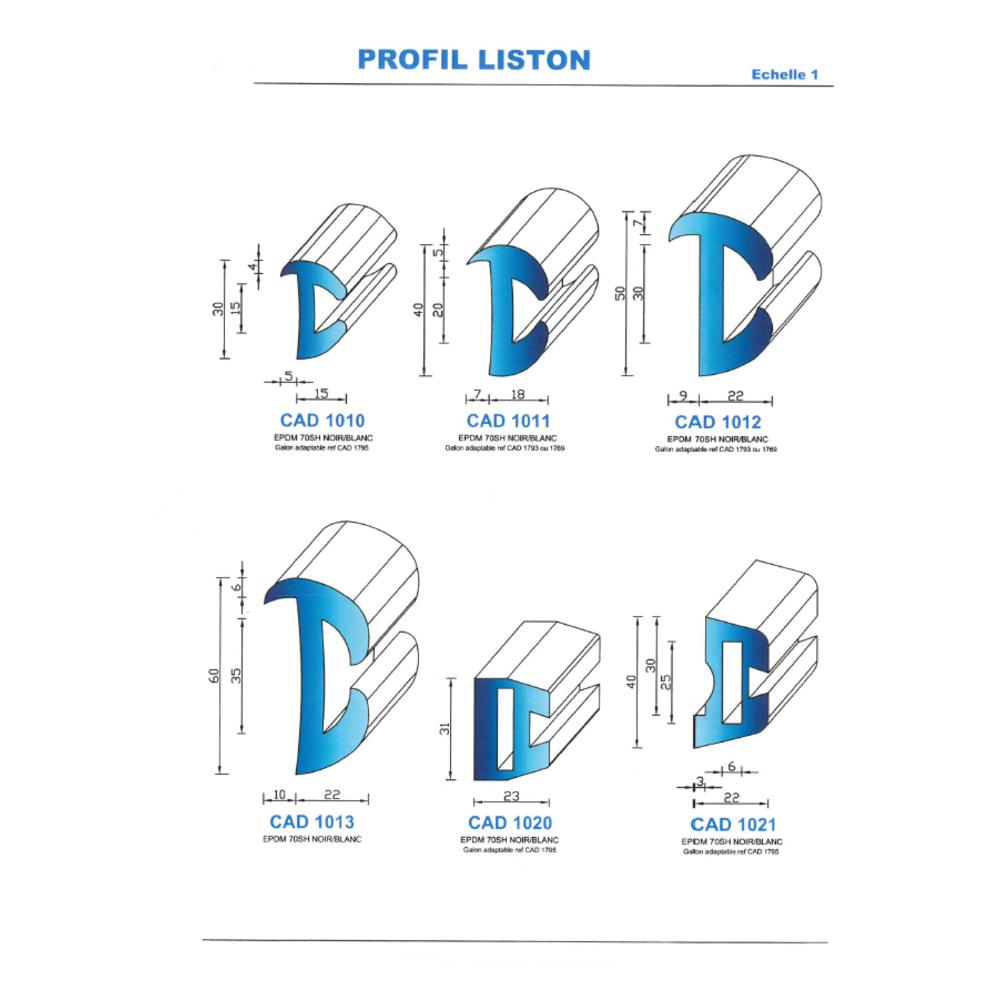CAD1011B Profil EPDM   70 SH Blanc   Vendu au Mètre
