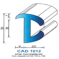 CAD1012B Profil EPDM   70 SH Blanc   Vendu au Mètre
