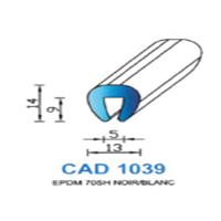 CAD1039N Profil EPDM <br /> 70 SH Noir <br /> Vendu au Mètre<br />