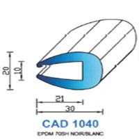 CAD1040N Profil EPDM   70 SH Noir   Vendu au Mètre