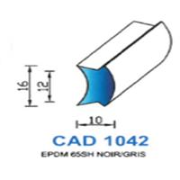 CAD1042N Profil EPDM <br /> 65 SH Noir <br /> Vendu au Mètre<br />