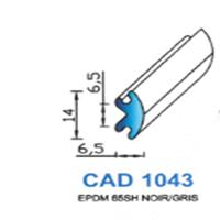 CAD1043G Profil EPDM <br /> 65 SH Gris <br /> Vendu au Mètre<br />