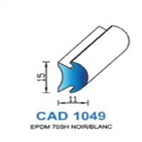 CAD1049N Profil EPDM <br /> 70 SH Noir <br /> Vendu au Mètre<br />