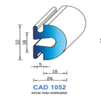 CAD1052N Profil EPDM   70 SH Noir