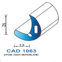 CAD1063B Profil EPDM <br /> 70 SH Blanc<br />