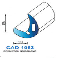 CAD1063N Profil EPDM <br /> 70 SH Noir<br />