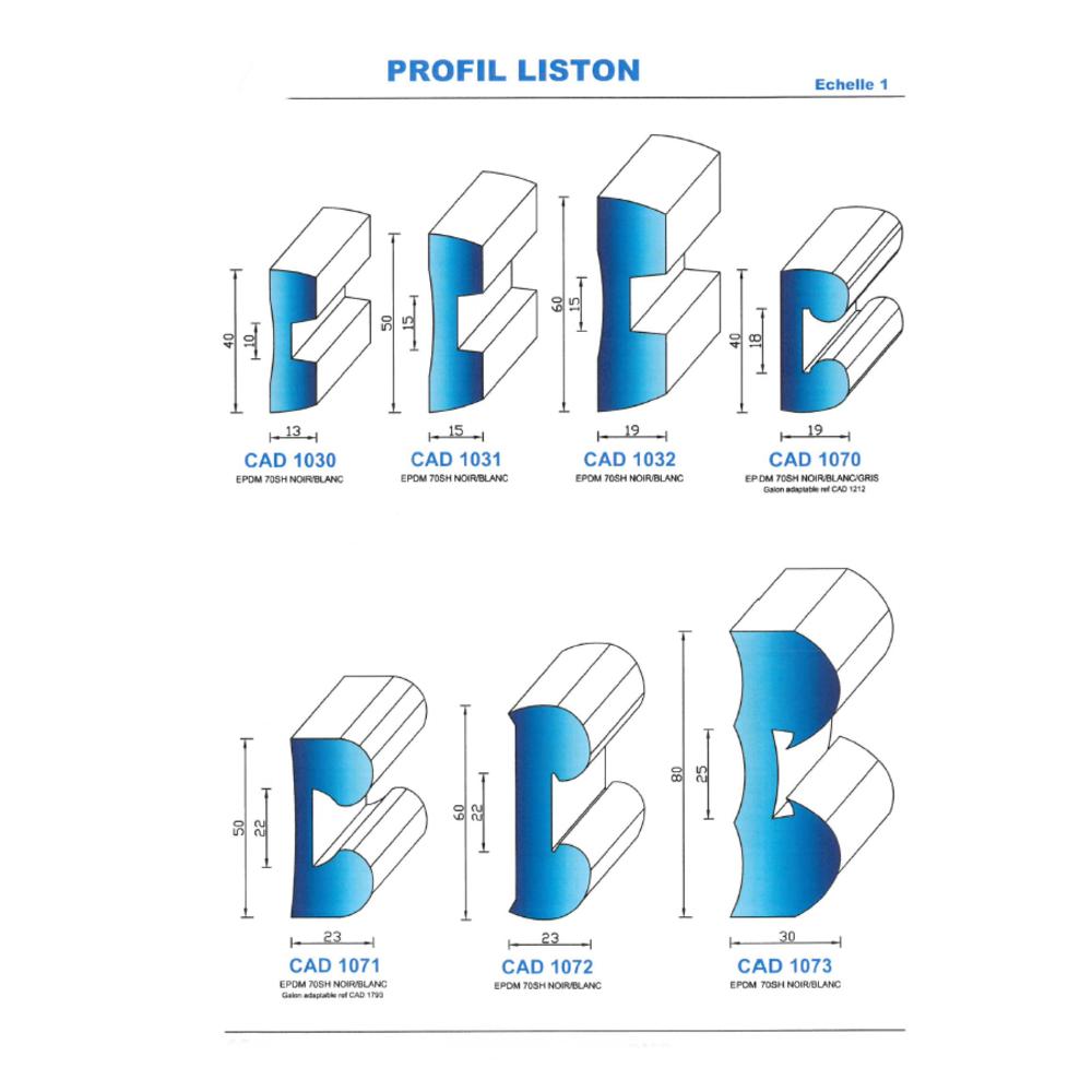 CAD1073B Profil EPDM   70 SH Blanc