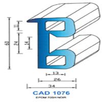 CAD1076N Profil EPDM   70 SH Noir