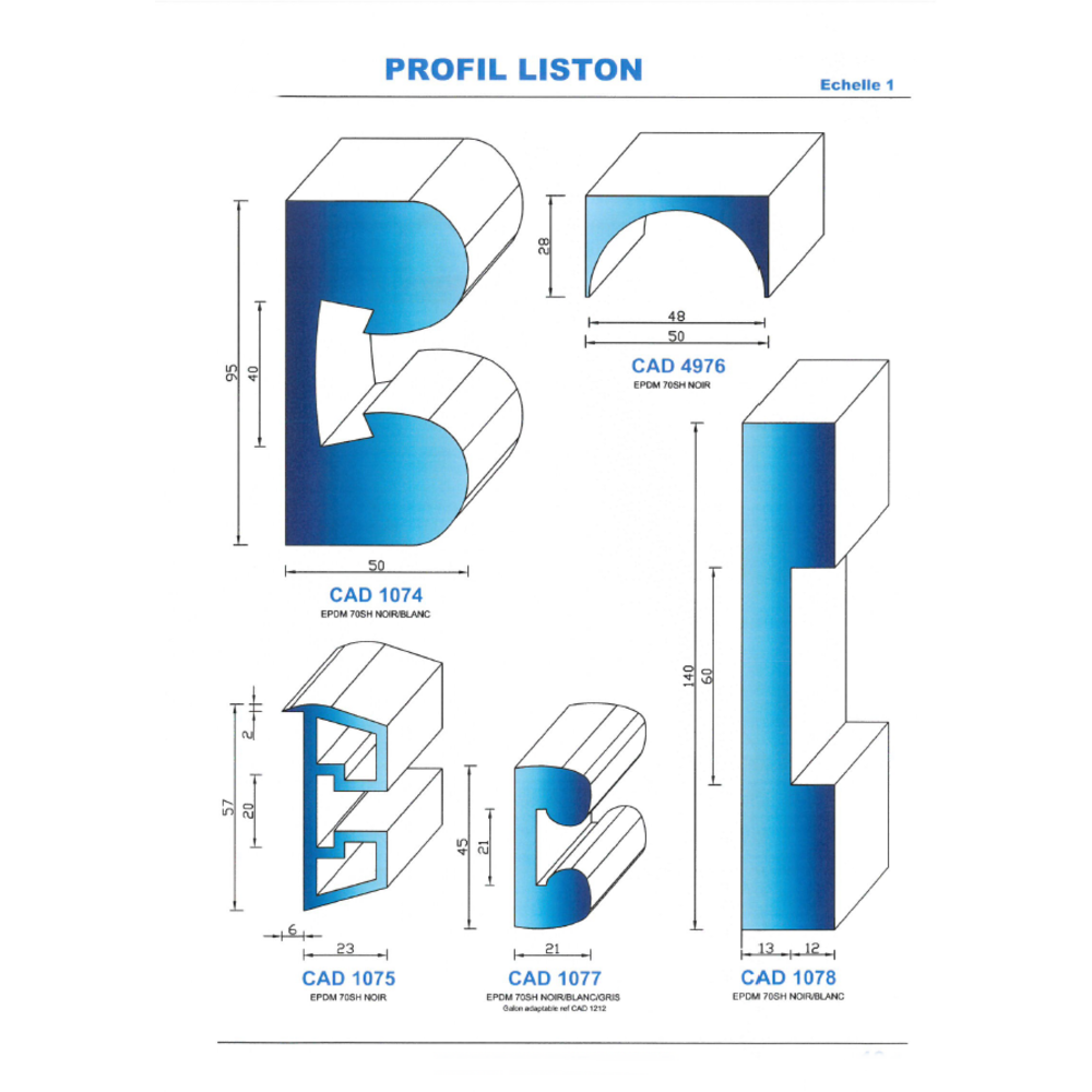 CAD1077B Profil EPDM   70 SH Blanc