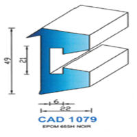 CAD1079N Profil EPDM   65 SH Noir