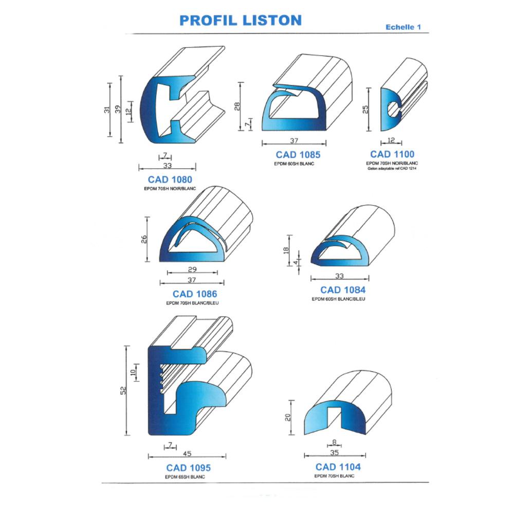 CAD1085C Profil EPDM   60 SH Couleur