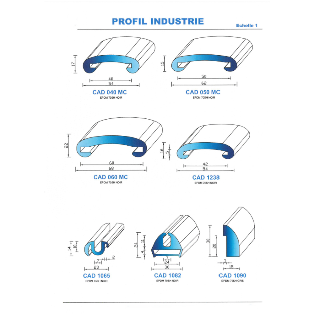 CAD1090G Profil EPDM   70 SH Gris