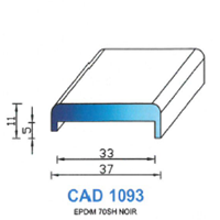 CAD1093N Profil EPDM <br /> 70 SH Noir<br />