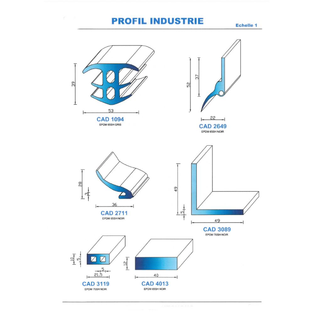 CAD1094N Profil EPDM   65 SH Gris