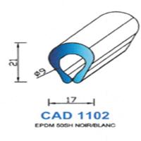 CAD1102B Profil EPDM <br /> 50 SH Blanc <br /> Vendu au Mètre<br />