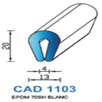 CAD1103B Profil EPDM <br /> 70 SH Blanc <br /> Vendu au Mètre<br />