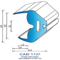 CAD1137N Profil EPDM   70 SH Noir