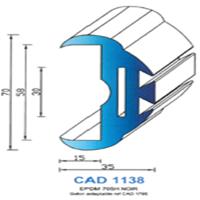 CAD1138N Profil EPDM   70 SH Noir