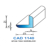 CAD1140B Profil EPDM <br /> 70 SH Blanc<br />