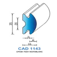 CAD1143N Profil EPDM   70 SH Noir   Vendu au Mètre