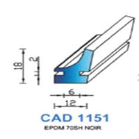 CAD1151N Profil EPDM   70 SH Noir
