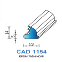 CAD1154N Profil EPDM   70 SH Noir