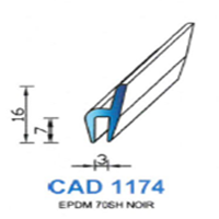 CAD1174N Profil EPDM   70 SH Noir