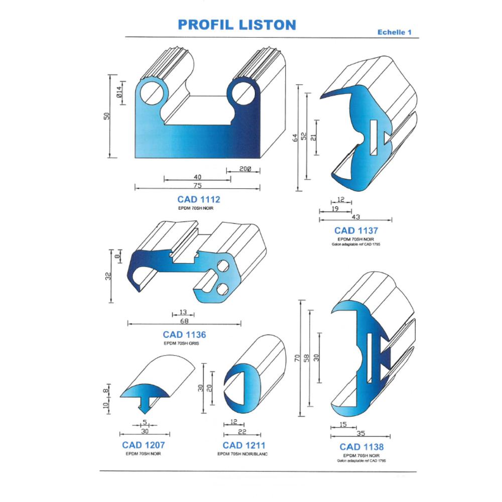 CAD1211G Profil EPDM   70 SH Gris