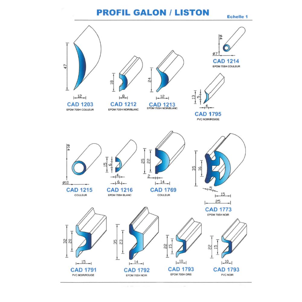 CAD1215C Profil EPDM   70 SH Couleur   Vendu au Mètre