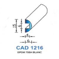 CAD1216B Profil EPDM   70 SH Blanc   Vendu au Mètre