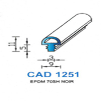 CAD1251N Profil EPDM   70 SH Noir