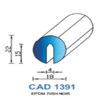 CAD1391N Profil EPDM   70 SH Noir