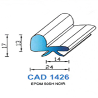 CAD1426N Profil EPDM   50 SH Noir