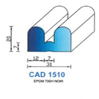 CAD1510N Profil EPDM <br /> 70 SH Noir <br /> Vendu au Mètre<br />